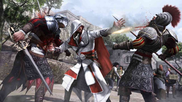 Ezio killing some dudes in Assassin's Creed: Brotherhood.