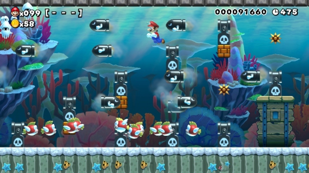 "Super Mario Maker course ""Torpedo Ted Terror"" by user jmac464 (ID: 290D-0000-0033-78F0)"