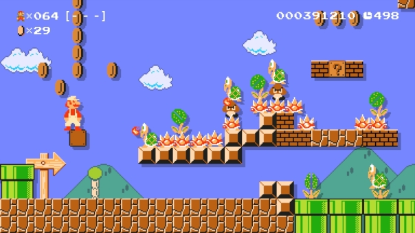 """Super Mario Maker course """"Stay Sharp!!"""" by user Deano (ID: 33E2-0000-0053-0503)"""