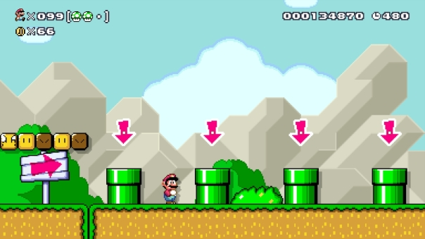 "Super Mario Maker course ""Weg zum Ziel,"" by user Jonas. (ID: 483A-0000-0065-9EB2)"